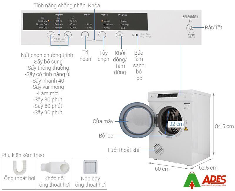 Caut ao may say Electrolux 8 Kg EDV8052